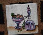 Ceramic Porcelain Wall Tile Hand Painted Japan Wine Fruit and Carafe H.S H S