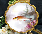 LIMOGES FRANCE PAINTED FISH PLATE THICK GOLD GILT FLYING FISH