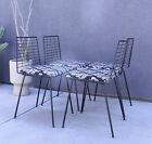 MID CENTURY MODERN VINTAGE THINLINE SET 4 DINING CHAIRS WIRE 1950S EAMES