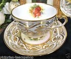 ROYAL CHELSEA TEA CUP AND SAUCER  PAINTED STRAWBERRY ARTIST SIGNED TEACUP