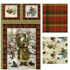 SPX OLD WORLD SANTA Animals Plaid With Metallic Gold  Fabric Panel or U Choose