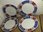 VINTAGE FITZ AND FLOYD NISHIKI SALAD / DESSERT PLATE LOT of FOUR RUST BLUE GOLD