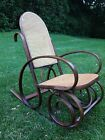 Vintage Mid-Century Thonet Style Bentwood Rocker, Cane Back Wooden Rocking Chair