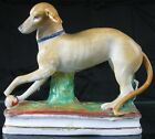 Early 19th C Staffordshire Porcelain Whippet Greyhound Dog Figurine As Is