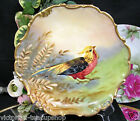 LIMOGES FRANCE BIRD PLATE CHARGE ARTIST SIGNED HAND PAINTED PLATE