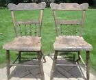 Antique American Windsor half spindle WOOD plank seat chairs, circa 1820 - 1840