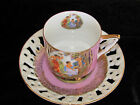 Royal HALSEY Vtg Pink Shabby Cup Saucer CHERUB ANGEL GODDESS Lady Woman Cottage