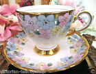TUSCAN TEA CUP AND SAUCER PAINTED FLORAL BEADED & GOLD PATTERN TEACUP