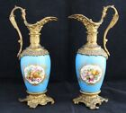 Pair 19th c. French Porcelain hand painted flowers & fruits Ewers Ormolu Mounted