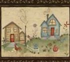 Red Rooster Fabrics PANEL Quilt #H114 HOME TO ROOST chickens houses and more.