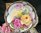 BAVARIA GERMANY STUNNING ROSES PLATE WITH CAMEO BAND PLATTER