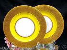 BAVARIA GERMANY SET OF 2 GOLD ENCRUSTED RAISED 24KT GOLD PLATES YELLOW BANDS