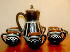 VINTAGE SOVIET ERA RARE CLAY TEA COFFEE SERVICE SET  6 PERSONS ABOUT 1970