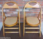 PAIR OF HONEY BROWN VINTAGE MCM BENTWOOD FOLDING CHAIRS EAMES THONET ERA
