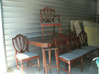 Duncan Phyfe Dining Table & Chairs/Set of 6 Shield Back Chairs 1940's Cir