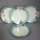 4 Hand Painted CZECHOSLOVAKIA Cabinet PLATES Pink Flowers Apple Blossoms