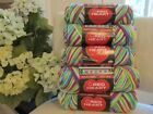 New 5 Skeins Red Heart Classic Yarn RAINBOW BRIGHTS Lime Green White Blue Pink