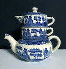 Vintage Antique Blue Willow Stacking Teapot with Creamer and Sugar