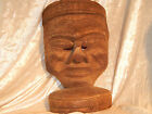 WOOD CARVED MASK MAYAN / AZTEC VINTAGE SCARY WARRIOR RITUAL DEATH