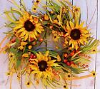 LARGE Spring Summer Wreath Country SUNFLOWER FLORAL GRASS DOOR WREATH DECOR