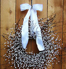 LARGE SPRING SUMMER WREATH PRIMITIVE COUNTRY WHITE BERRY DOOR WREATH DECOR
