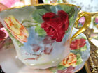 GERMANY TEA CUP AND SAUCER MALMAISON PAINTED ROSES TEACUP RED & YELLOW  ROSES