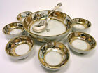 Antique Nippon 7 pc. Nut Bowl Set, Hand Painted Scenes Gold and Brown