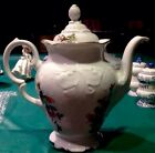 ROYAL KENT (Poland) china MOSS ROSE rkt8 pattern COFFEE POT with LID 46 oz.
