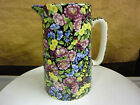 Large Crown B Burslem Floral Chintz Pitcher Staffordshire England Multi-color