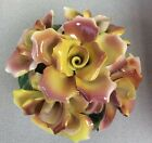 Large Capodimonte Basket Roses Floral Arrangement Porcelain Centerpiece PERFECT