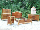 French Antique Burl walnut wood carved Ornate elegant 6 piece bedroom set suite