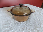 Amber Glass Vision Ware Corning 1 Liter Dish Pot Double Boiler # 1148 with Lid