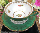 BAVARIA GERMANY TEA CUP AND SAUCER GREEN & GOLD FRUITS PATTERN TEACUP