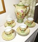 Antique Greiner&Herda Germany-Green Luster Chocolate/Tea Pot W/4 Cups&Saucers