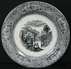 Antique Early Ironstone Black Transfer Ware Plate Columbia J Wedgwood