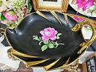 NC WESTERN GERMANY HAND PAINTED ROSE BLACK BEAUTY PATTERN DISH