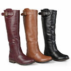 Journee Collection Womens Round Toe Knee High Buckle Detail Riding Boots