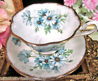 ROYAL ALBERT TEA CUP AND SAUCER AVON WIDE MOUTH BLUE DAISY PATTERN TEACUP