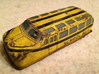 Vintage Nomura Japan Tin Litho Friction School Bus Toy Yellow Auto Vehicle