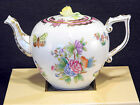 HEREND QUEEN VICTORIA PINK BORDER TEAPOT,WITH ROSE LID END,FOR SIX CUPS