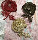EMBROIDERED 3 D ROSE APPLIQUE Layered Flower Leaves 3 Hand Sewn GLASS BEADS 1pc
