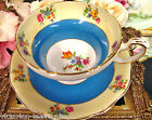 FOLEY  TEA CUP AND SAUCER BLUE BAND & FLORAL PATTERN TEACUP