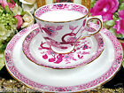 TUSCAN TEA CUP AND SAUCER TRIO INSCETS BUGS BUTTERFLY FLORAL TEACUP PINK