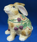 Blackberry Rabbit Bunny Cookie Biscuit Jar Canister Fitz Floyd Brown Berries New