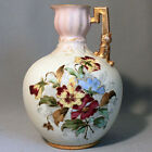 Antique German RUDOLSTADT Hand Painted FLORAL PANSIES EWER Gold PITCHER VASE