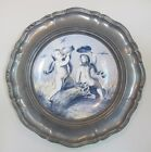 Antique hand painting big blue and white angel hanging plate with Aluminum frame