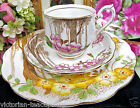 ROYAL ALBERT TEA CUP AND SAUCER TRIO BLOSSOMS AND TREES PATTERN TEACUP