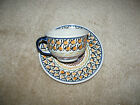 BOLESLAWIEC POTTERY Cup and Saucer S2 Made in Poland Salmon, blue, brown, green