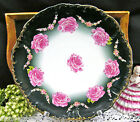 GERMAN HAND PAINTED PLATTER / CHARGER PAINTED ROSES AND MOLDED CENTER FLOWERS