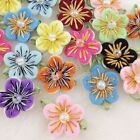 40 200PC Felt Flower w Bead Leaf Appliques Craft 10 colors pick color A0167